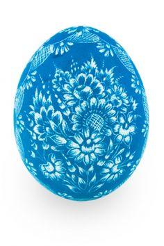 Kraszanka z wzorem kwiatowym folk - niebieska