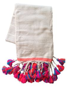 Main Loomed marocain Pom Pom couvertures  Ivoire par PaddotoPalmy, $320.00