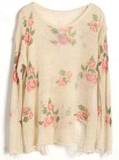 Beige Rose Flowers Print Ripped Distressed Long Sleeve Jumper - pair this with tights or skinny jeans.