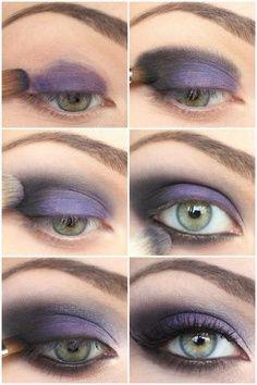 Top 10 Makeup Tutorials For Seductive Eyes Purple smokey eye makeup eyeshadow color smoky beauty - Das schönste Make-up Purple Smokey Eye, Purple Eye Makeup, Makeup For Green Eyes, Black Smokey, Purple Eyeshadow, Smoky Eyeshadow, Black Makeup, Glitter Makeup, Gorgeous Makeup