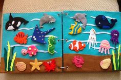 Under the sea quiet book - images for ref only. Diy Quiet Books, Baby Quiet Book, Felt Quiet Books, Felt Diy, Felt Crafts, Diy And Crafts, Crafts For Kids, Quiet Book Templates, Quiet Book Patterns