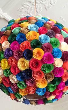 Large Blooms - Colorful paper flowers round pendant light - Wedding, Lighting, Pendant Light on Etsy, $153.65
