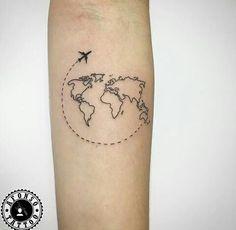 Travel Tattoo World Map Airplane - Tattoos & Piercing - . - Travel Tattoo World Map Airplane – Tattoos & Piercing – … – tattoo – - World Travel Tattoos, World Map Tattoos, Tattoo Travel, Small Travel Tattoo, Traveler Tattoo, Kunst Tattoos, Neue Tattoos, Piercings, Piercing Tattoo