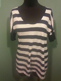 Gap Navy Blue White Striped Scoop Neck Knit Cotton Modal Short Sleeve Top XS Euc #GAP #KnitTop #CasualSport #daystarfashions $11.99 Free Shipping!