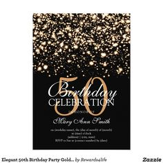 Elegant 50th Birthday Party Gold Midnight Glam 5x7 Paper Invitations. Artwork designed by Rewards4life's Gifts