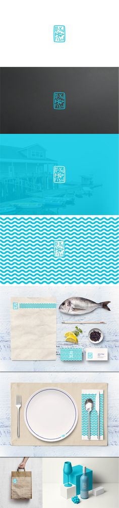 As You Fish brand identity and logo design by dalibor πych for a seafood restaurant. Nautical blue line art sets the tone of this seaside eatery. #branding #logoinspiration #logodesign