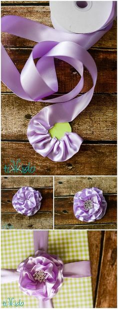 Lear how to make a beautiful and easy ribbon flower to use for wrapping gifts.  Paired with green gingham wrapping paper, this is a perfect look for a spring birthday party or baby shower.