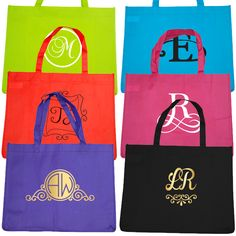 Bridal Party Budget Tote Bag with Monogram - Pack of 6 Reusable Tote Bags, Budget, Monogram, Bridal, Party, Diamonds, Bride, Monograms, Brides