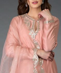 Pressed Rose Gota Patti and Mirror Work Farshi Palazzo Suit