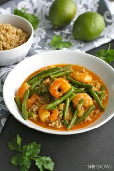 A fave restaurant dish, easily made at home! Thai Red Curry Shrimp with Green Beans