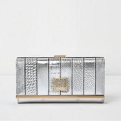 Silver metallic panel clip top purse €22.00