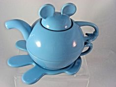 Disney Thailand Mickey Mouse Blue Ceramic Stackable TeaPot Vintage 1980 Pristine #Disney