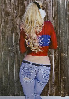 Body paint blue jeans, red white and blue winter sweater, Body Painting, Doug Mitchel-1362