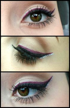 Three colors of liquid eyeliner; the rest of the eye is nude or neutral.