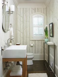 Color scheme, sink, and birch tree wallpaper makes this small bath interesting