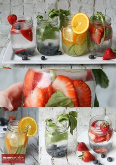 Fruit Infused Water // perfection to serve at parties and to keep stocked in the fridge throughout the spring and summer via Mom Advice #healthy #hydrate