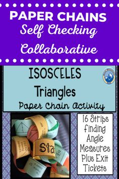 Looking for a fun activity that is self-checking, collaborative and practices finding the measures of isosceles triangles? This is a set of 16 problems that need to be cut apart, reassembled in the correct order and fastened together like a chain until the end is reached.Each of the links has an problem and the solution to another problem. Students will need to look at the diagram, find the measure and then look for the answer on another strip.