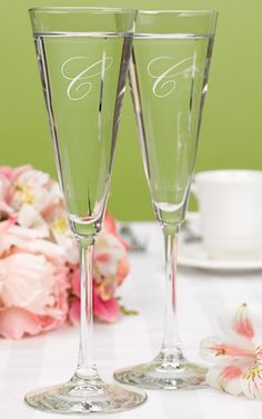 Simple Flare Personalized Toasting Flutes from Wedding Favors Unlimited