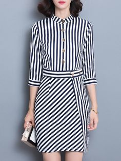 Buttoned Slimming Striped Dress