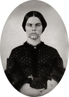 "Olive Oatman, given facial tattoo by Native Americans who abducted her in the 1850s - This is the very same tattoo represented on AMC's Series ""Hell on Wheels"" !! my thoughts exactly"