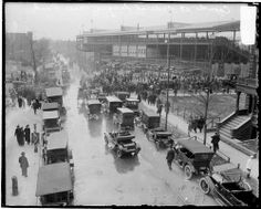 Old Wrigley Field 1914 - view from the Addison Street L Station looking west