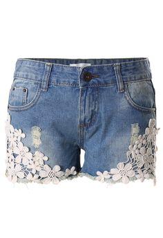 Crochet Detail Denim Cutoff Shorts - Bottoms - Retro, Indie and Unique Fashion