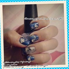 Blue Nail Art Design with Butterflies, dots and gemstones. @glamorazzishop #nailart #naildesign #blue #butterflies #opi #dearlaura #roslynfoo #notd