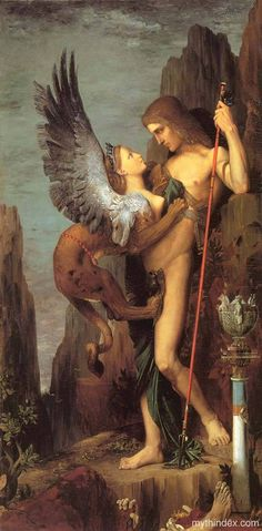 "Oedipus the Wayfarer by Gustave Moreau. Sphinx {demon of death, destruction and bad luck} ""to strangle""; guardian of temple entrances 
