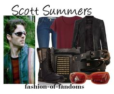 """""""Scott Summers"""" by fofandoms ❤ liked on Polyvore featuring Monki, AllSaints, Forever 21, Rare London and Prada"""
