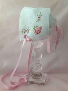 Pink Roses Handkerchief Baby Bonnet Hanky by myheavenlydesigns