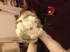Homemade white carnation and gypsophilia bouquet