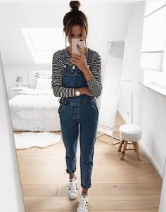 Daily Dress Me breaks down the weather forecast into style inspiration that actually makes sense. School Fashion, Fashion 2018, Fashion Online, Hijab Casual, Casual Outfits, Outfits With Overalls, Mode Outfits, Fashion Outfits, Womens Fashion