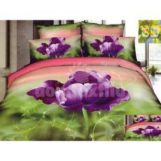 Zeleno ružová posteľná bielizeň s motívom fialového kvetu