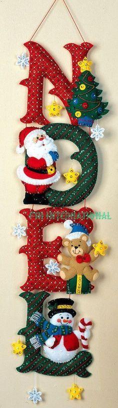 Bucilla NOEL ~ Felt Christmas Wall Hanging Kit Santa, Frosty, Teddy Bear in Crafts, Cross Stitch, Kits Christmas Wall Hangings, Felt Christmas Decorations, Felt Christmas Ornaments, Christmas Wreaths, Diy Ornaments, Beaded Ornaments, Glass Ornaments, Christmas Makes, Christmas Holidays