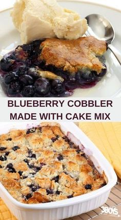 Blueberry Cake Mix Cobbler Recipe With only 3 ingredients!, this Easy Blueberry Cobbler made with Cake Mix is best eaten right out of the oven AND it makes your house smell so delicious! Blueberry Cobbler Recipes, Blueberry Dump Cakes, Easy Blueberry Desserts, Blueberry Recipes With Cake Mix, Recipes With Fresh Blueberries, Blueberry Cheesecake, Blackberry Cobbler, Fruit Cobbler, Blueberry Oatmeal