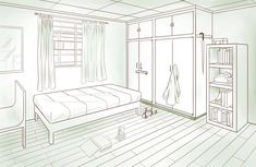 My bedroom in two-point perspective. Drawn using Clip Studio Paint EX Bedroom - Two-point Perspective Perspective Room, Perspective Pictures, Perspective Sketch, Drawing Interior, Interior Sketch, Interior House Colors, Room Interior, Commercial Interior Design, Interior Design Services
