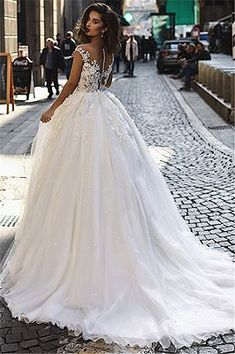 52c483e4dfa2 Charming Cap Sleeves V-Neck Appliques Ball Gown Tulle Wedding Dresses