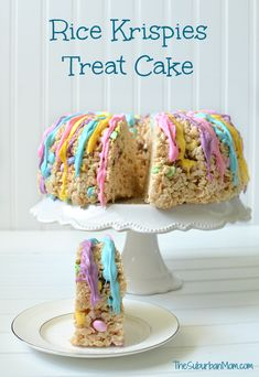 The easiest cake you will ever make (not bake) a Rice Krispies Treat Cake. This colorful no-bake cake is perfect for Easter celebrations or spring parties. [Ad]