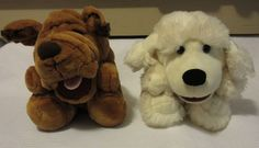 2 Puppy Dog Full Body Bodied Song Barking Plush Hand Puppets SHAR PEI & POODLE