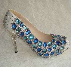 Handmade sew crystal wedding shoes , party shoes , blue crystals