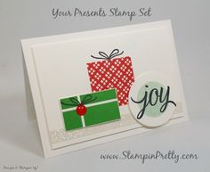 A Christmas Card in July - My 1st Sneak Peek! - http://stampinpretty.com/2015/07/a-christmas-card-in-july-my-1st-sneak-peek.html  Your Presents stamp set is a multi-tasker for birthday, holiday and Christmas cards. More details & Stampin' Up! card ideas on my Stampin' Pretty blog, http://stampinpretty.com.  Mary Fish, Independent Stampin' Up! Demonstrator.