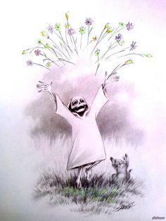 """""""Мрачный жнец и его внучка"""" (La parca y su nieta) De la serie de trabajos del artista ruso Sergoz."""