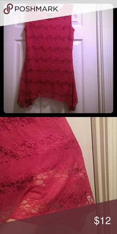 Cute Top Had a nylon and spandex shell that is longer than the liner and is a gorgeous pink color with lace design.  The liner is polyester. Shannon Ford New York Tops