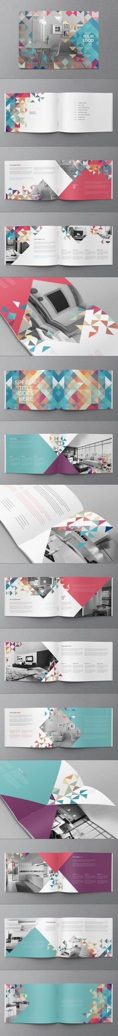 Minimal Colorful Brochure by Abra Design, via Behance                                                                                                                                                                                 Mais