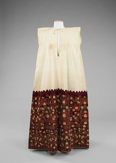 Dress-fourth quarter 19th Century, Greek, linen with silk, metal embroidery.