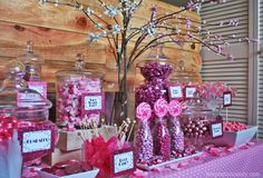 Temptation Candy presents a most beautiful pink candy buffet! Perfect for any It's a Girl Baby Shower. Candy Buffet includes Shimmer Pink Gumballs, Bubblegum Salt Water Taffy, It's a Girl Chocolate Coins, Dark Pink Rock Candy Crystal Sticks, Light & Dark Pink M&M's, Pink Foil Chocolate Balls, It's a Girl Whirly Pops, Pink Foil Hard Candy, Neon Pink Gummy Bears, It's a Girl Hershey's Kisses and much, much more.