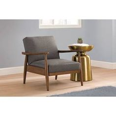 Flynn Mid-Century Chair Wood with Linen Upholstery
