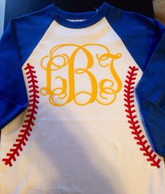 Women's monogrammed baseball seam t-shirt by YounInkBoutique on Etsy https://www.etsy.com/listing/181885126/womens-monogrammed-baseball-seam-t-shirt