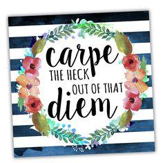 Wreath Quotes 'Carpe Diem Floral' Textual Art on Wrapped Canvas
