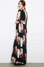 Carin Wester Tilja Maxi Dress in Fox Print at Urban Outfitters